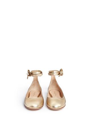 Gianvito Rossi-'Carla' ankle tie metallic leather ballerina flats