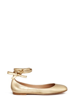 Main View - Click To Enlarge - Gianvito Rossi - 'Carla' ankle tie metallic leather ballerina flats