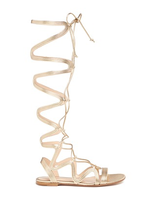 Main View - Click To Enlarge - Gianvito Rossi - 'Medusa' piped metallic leather gladiator sandals