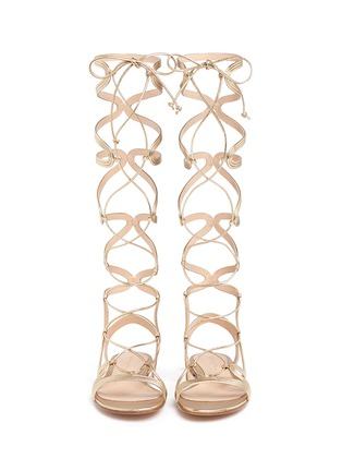 Figure View - Click To Enlarge - Gianvito Rossi - 'Medusa' piped metallic leather gladiator sandals