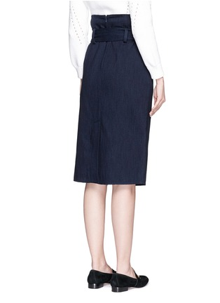 Back View - Click To Enlarge - Tibi - Sash belt wrap front denim skirt