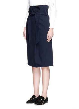 Front View - Click To Enlarge - Tibi - Sash belt wrap front denim skirt