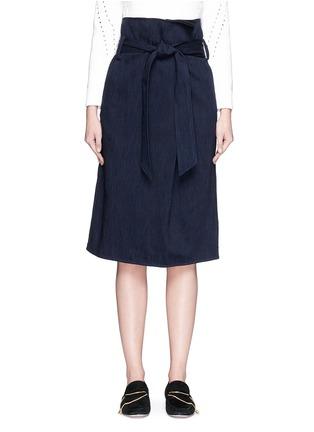 Main View - Click To Enlarge - Tibi - Sash belt wrap front denim skirt