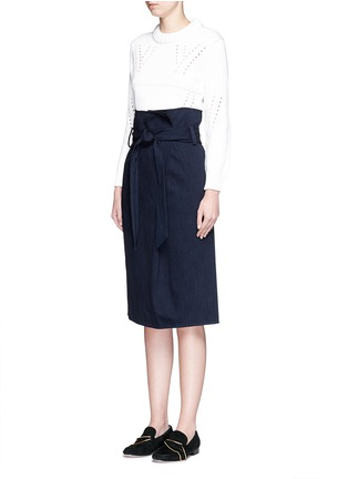 Figure View - Click To Enlarge - Tibi - Sash belt wrap front denim skirt