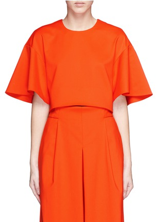 Tibi - 'Agathe' bell sleeve cropped top