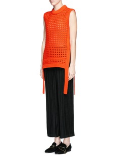 TIBI Waffle pointelle knit front sleeveless sweater