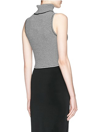 Back View - Click To Enlarge - Elizabeth and James - Stripe knit cropped sleeveless turtleneck top