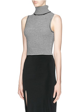 Front View - Click To Enlarge - Elizabeth and James - Stripe knit cropped sleeveless turtleneck top