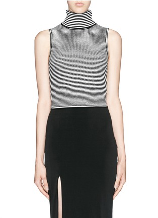 Main View - Click To Enlarge - Elizabeth and James - Stripe knit cropped sleeveless turtleneck top