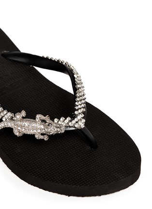 Detail View - Click To Enlarge - Uzurii - 'Crocodile' crystal flip flops