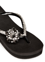 'Black Swan' crystal flower wedge flip flops