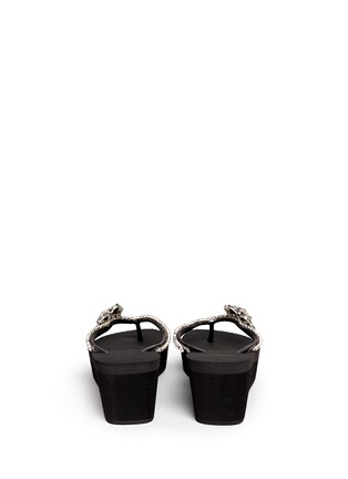 Back View - Click To Enlarge - Uzurii - 'Black Swan' crystal flower wedge flip flops