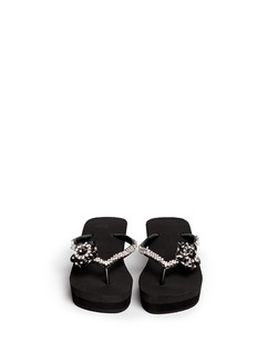 UZURII 'Black Swan' crystal flower wedge flip flops