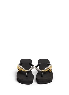 UZURII 'Flamengo' crystal chain wedge flip flops