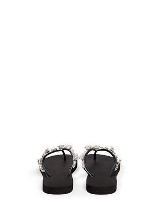 Back View - Click To Enlarge - Uzurii - 'Jenny' crystal wedge flip flops