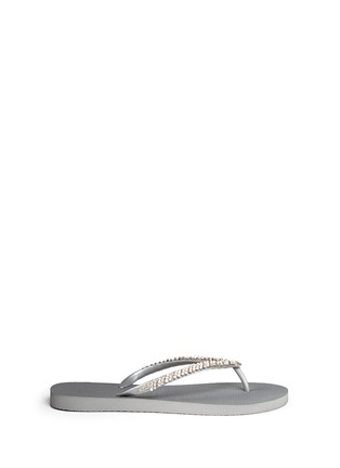Main View - Click To Enlarge - Uzurii - 'Classic' crystal flip flops