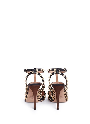 Back View - Click To Enlarge - Valentino - 'Rockstud' caged leopard print pony hair pumps