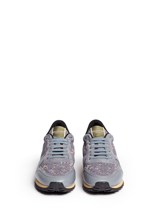 Figure View - Click To Enlarge - Valentino - Colourblock macramé lace sneakers
