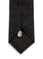 Embroidered wool-silk-nylon skinny tie