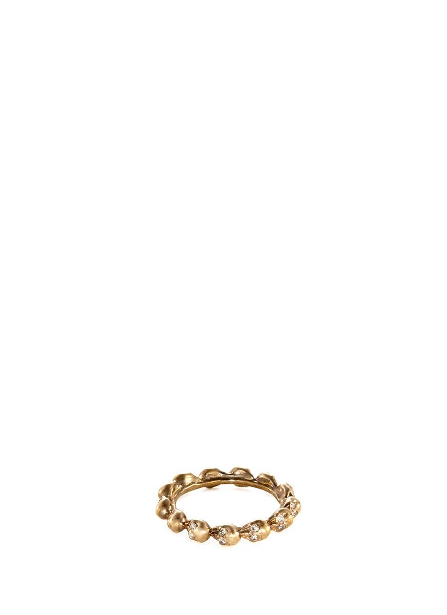 Diamond 18k yellow gold skull ring