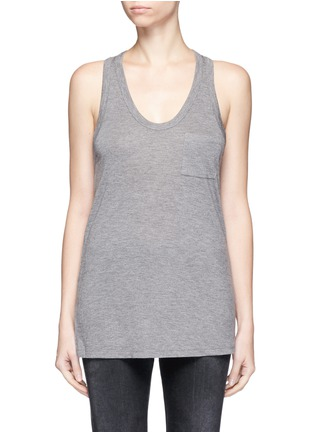 Main View - Click To Enlarge - T By Alexander Wang - Classic scoop neck pocket tank top