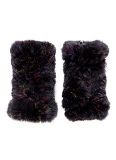 HOCKLEY 'Asella' rex rabbit fur short fingerless gloves