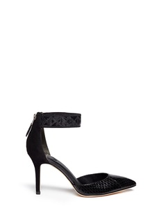 B BY BRIAN ATWOOD'Mariale' patchwork strap snakeskin d'Orsay pumps