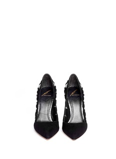 B BY BRIAN ATWOOD'Nicollette' snakeskin panel cut-out suede pumps