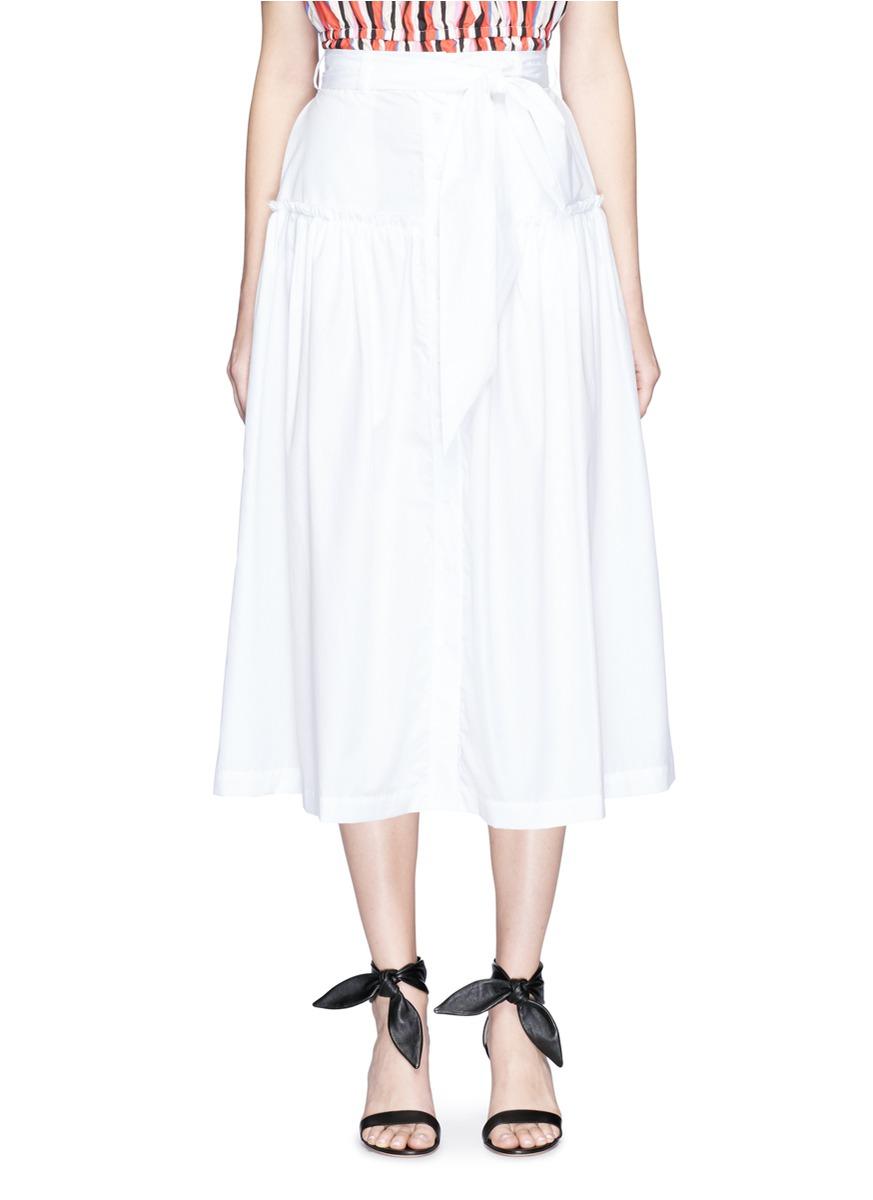 Tie waist cotton poplin midi skirt by Nicholas