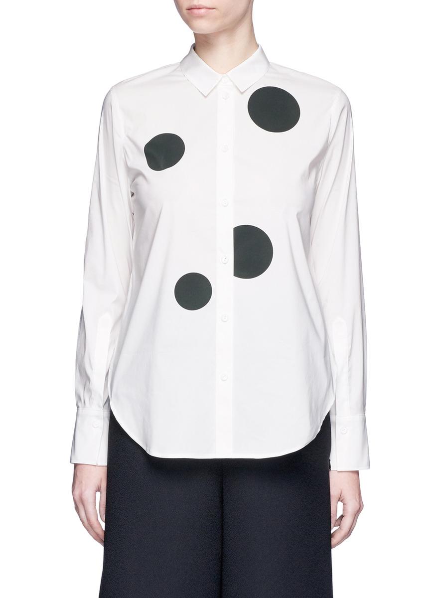Polka dot print cotton blend shirt by KUHO