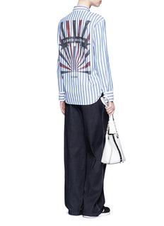 KUHOStar slogan stripe print poplin shirt