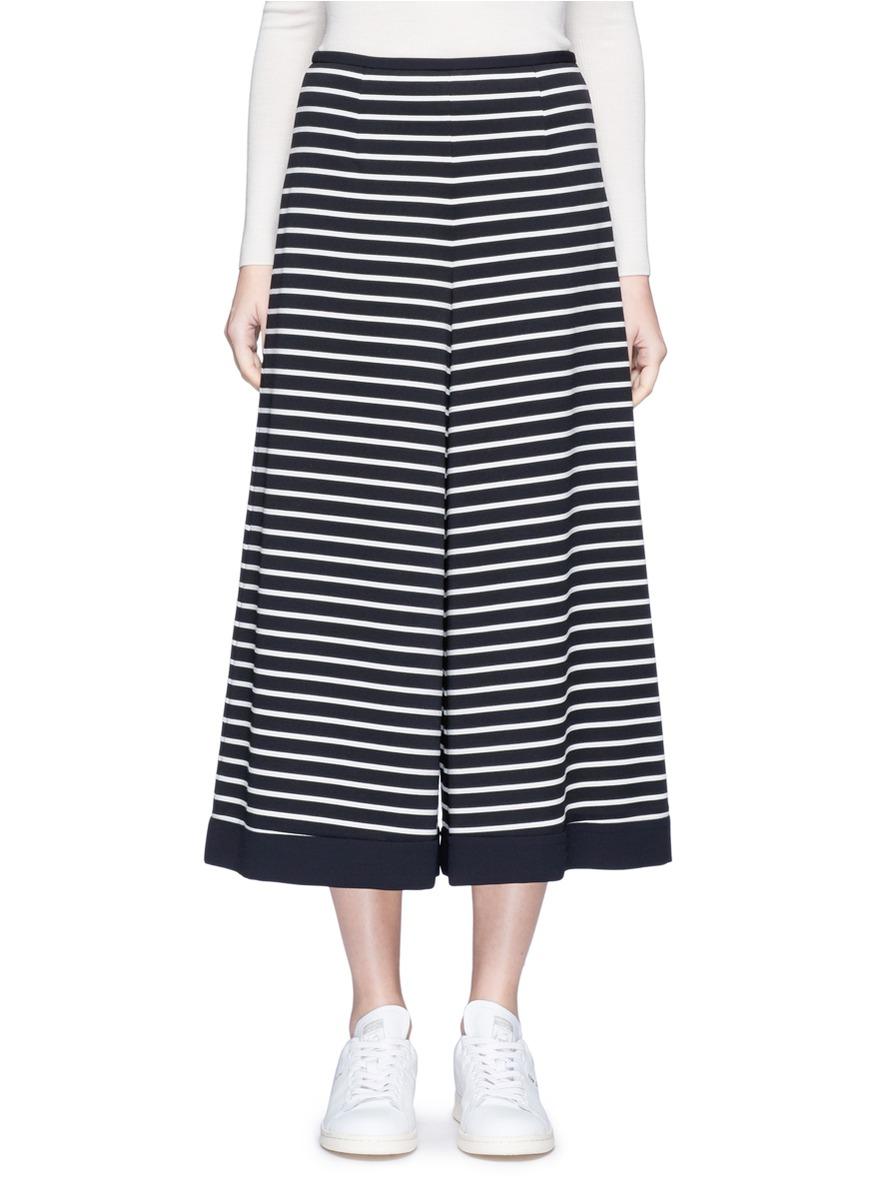 Stripe cropped wide leg pants by KUHO