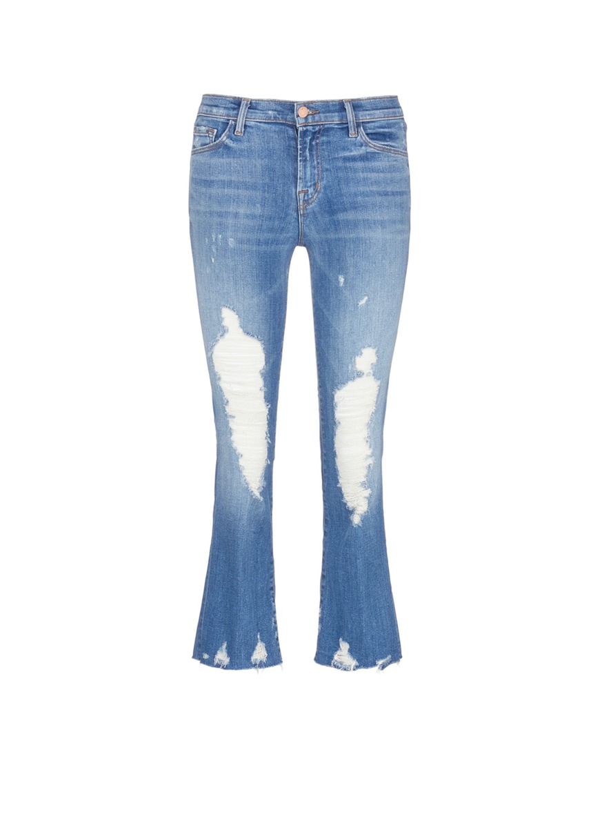 Selena distressed cropped boot cut jeans by J Brand