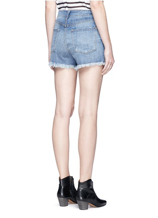Back View - Click To Enlarge - J Brand - 'Gracie' frayed cuff high rise denim shorts