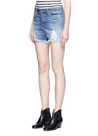 Front View - Click To Enlarge - J Brand - 'Gracie' frayed cuff high rise denim shorts