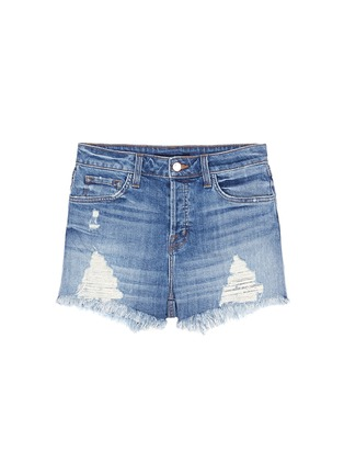 Main View - Click To Enlarge - J Brand - 'Gracie' frayed cuff high rise denim shorts