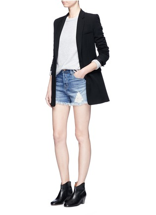 Figure View - Click To Enlarge - J Brand - 'Gracie' frayed cuff high rise denim shorts