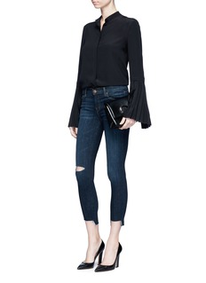 J Brand 'Cross Hatch' stagger cuff cropped skinny jeans