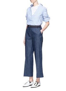 ELIZABETH AND JAMESHudson拼色条纹裤腰露踝牛仔阔腿喇叭裤