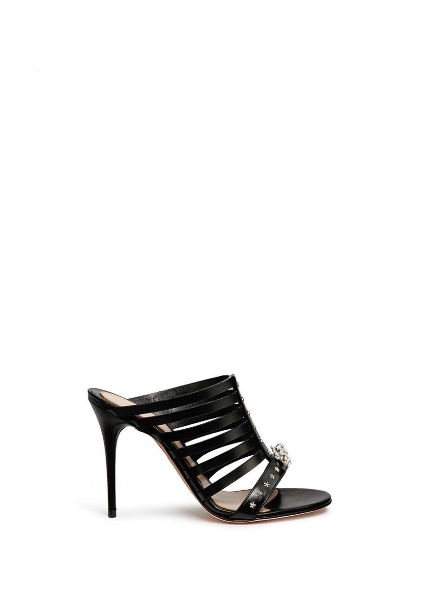 King skull caged leather sandals by Alexander McQueen