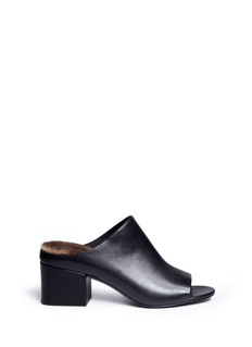 3.1 Phillip Lim 'Cube' rabbit fur lined leather mules