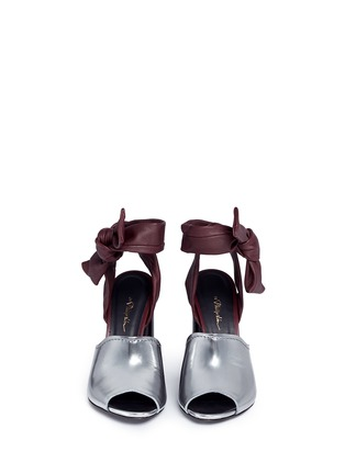 Front View - Click To Enlarge - 3.1 Phillip Lim - 'Kyoto' knotted ankle strap metallic leather sandals