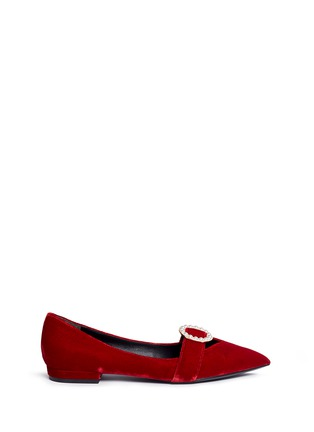 Main View - Click To Enlarge - Stella Luna - Faux pearl buckle velvet flats