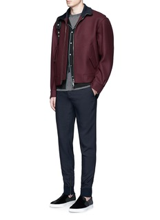 LanvinStripe trim Milano stitch wool-silk jacket