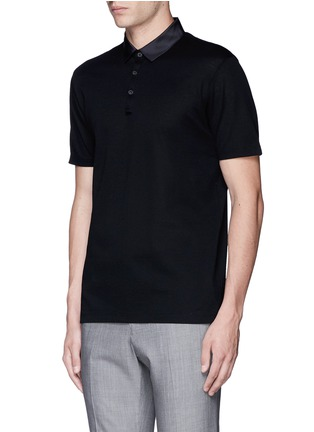 Front View - Click To Enlarge - Lanvin - Slim fit grosgrain collar polo shirt