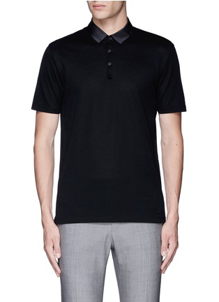 Main View - Click To Enlarge - Lanvin - Slim fit grosgrain collar polo shirt