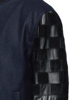 Patchwork leather sleeve baseball jacket