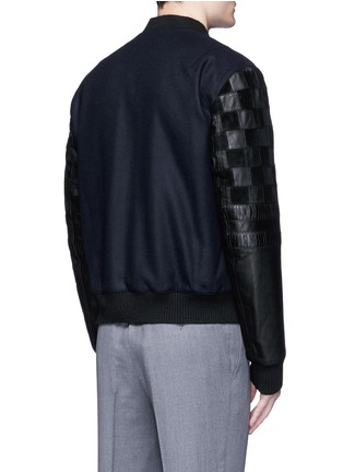 Back View - Click To Enlarge - Lanvin - Patchwork leather sleeve baseball jacket
