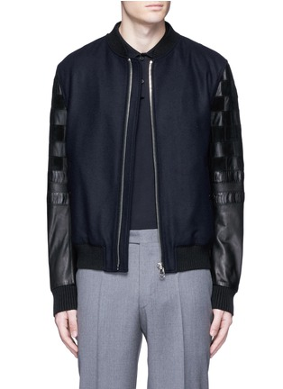 Main View - Click To Enlarge - Lanvin - Patchwork leather sleeve baseball jacket