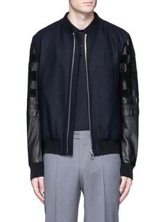 LanvinPatchwork leather sleeve baseball jacket